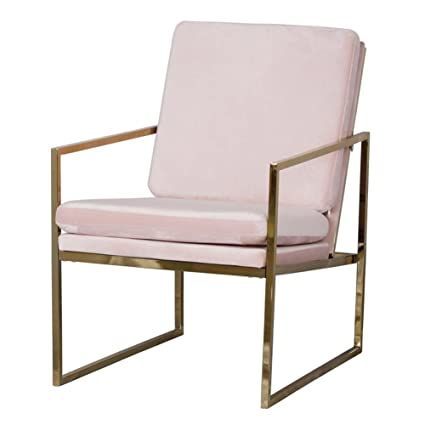 Pink Armchair Velvet Lounge Chair, Brass Plated Gold Finish Steel / Metal  Frame, 1