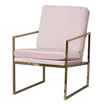 Amazon.com: Pink Armchair Velvet Lounge Chair, Brass Plated Gold ...