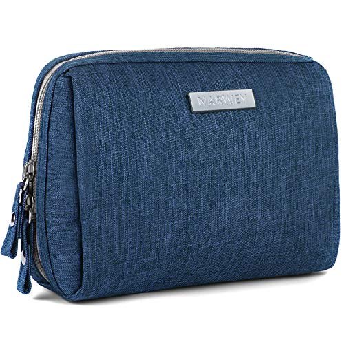 Small Makeup Bag for Purse Travel Makeup Pouch Mini Cosmetic Bag for Women Girls (Rectangle-Navy Blue)