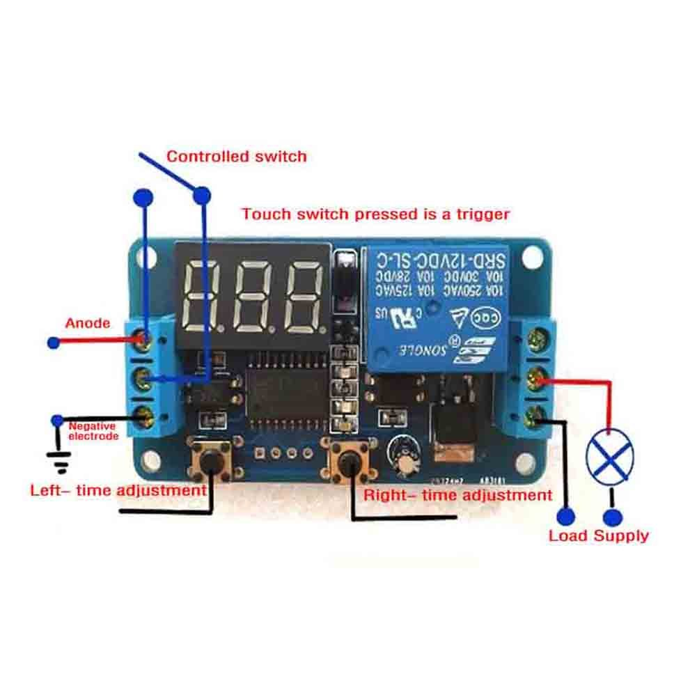 Heroneo 12v Home Automation Delay Timer Control Switch Module Pressed And Circuit Goes To On State Relay A High Power Led Digital Display Plug In Switches