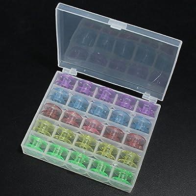 Caja con 25 canillas vacías para máquina de coser (plástico ...