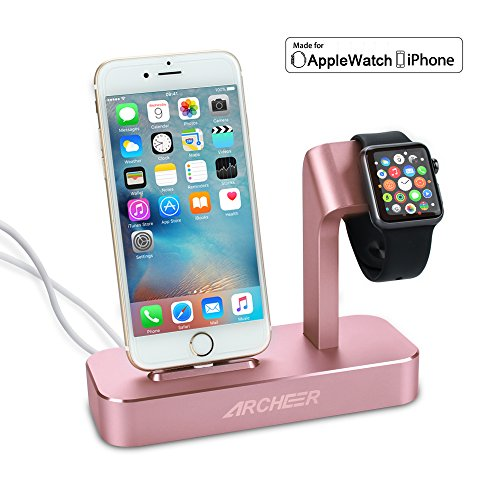 (Lightning cable Included) Archeer 2 in 1 Apple Watch Stand and iPhone Charging Dock Station iWatch Charging Stand for iPhone 7/6s/6s plus/6/6 plus/5s/5 and Apple Watch/Sport/Edition 38mm/42mm (Iphone 5s Edition Gold)