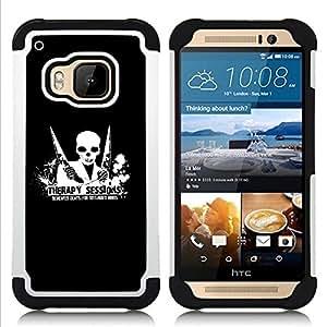 """HTC One M9 /M9s / One Hima - 3 en 1 impreso colorido de Altas Prestaciones PC Funda chaqueta Negro cubierta gel silicona suave (Terapia Sesión Demented Beats"""")"""