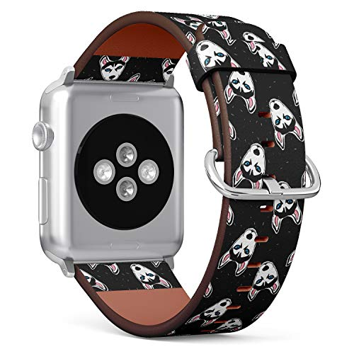 (Husky Dog Pattern - Patterned Leather Wristband Strap Compatible with Apple Watch Series 4/3/2/1)
