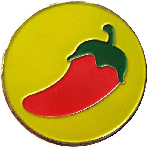 Chili Pepper withイエロー背景ゴルフボールマーカー& Matchingハットクリップ   B00VMG87TW