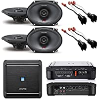 Alpine 4-Channel Car Amplifier, 50 Watts RMS x 4 W/ Alpine R-S68 Bundle+ Two pairs of Alpine 6x8 / 5x7 Inch Coaxial 2-Way Speakers (2) Pair of Speaker Wire Adapters