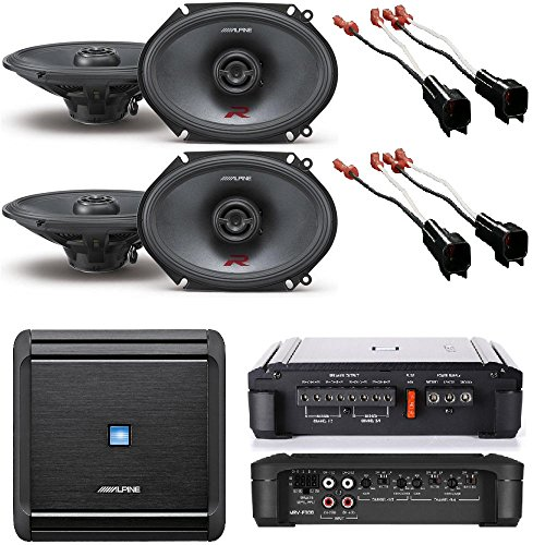 Alpine 4-Channel Car Amplifier, 50 Watts RMS x 4 W/ Alpine R-S68 Bundle+ Two pairs of Alpine 6x8 / 5x7 Inch Coaxial 2-Way Speakers (2) Pair of Speaker Wire Adapters (Alpine Car Amplifier 5 Channel)