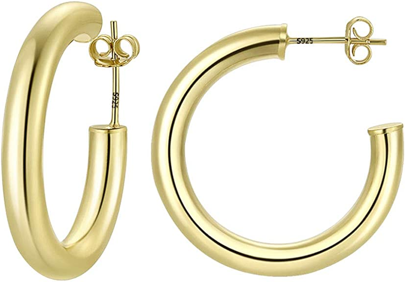 Details about  /14k Yellow Gold Polished Women/'s 25mm Classic and Elegant Hoop Earrings
