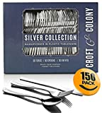 150-Piece Plastic Silverware Set - Heavy Duty Disposable Silver Plastic Cutlery - 50 Forks, 50 Spoons, 50 Knives ~ by Croft & Colony