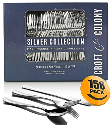 150-Piece Plastic Silverware Set - Heavy Duty Disposable Silver Plastic Cutlery - 50 Forks, 50 Spoons, 50 Knives ~ by Croft & Colony (Silver Forks Metallic Plastic)