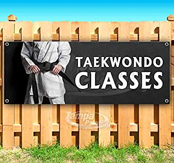 New Store Taekwondo Classes 13 oz Heavy Duty Vinyl Banner Sign with Metal Grommets Advertising Flag, Many Sizes Available