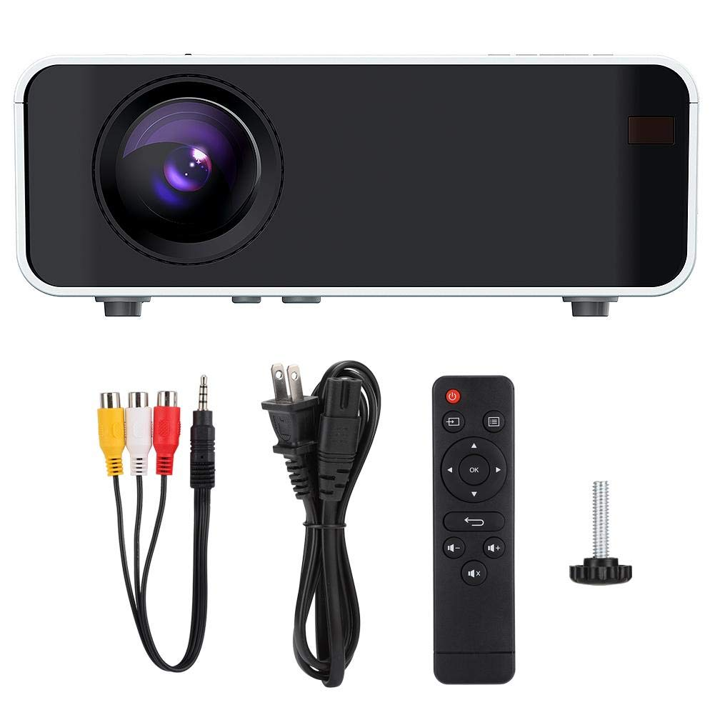 Portable Projector Support 1080P 1500LMs 3D HD LCD Display Home Projector White Home Cinema Movie Video Theater Office Beamer Sync Screen