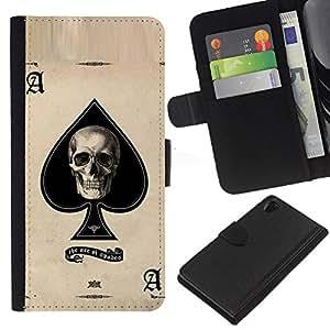 ZCell / Sony Xperia Z2 D6502 / Ace Spades Skull Black Poker Cards / Caso Shell Armor Funda Case Cover Wallet / As espadas cráneo Negro Pok