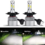 HSUN H4 9003 Hi/Low LED Headlight Bulbs,All-in-One Conversion Kit-8000 Lumens Extremely Super Bright COB Chip,2 Pack,6500K White