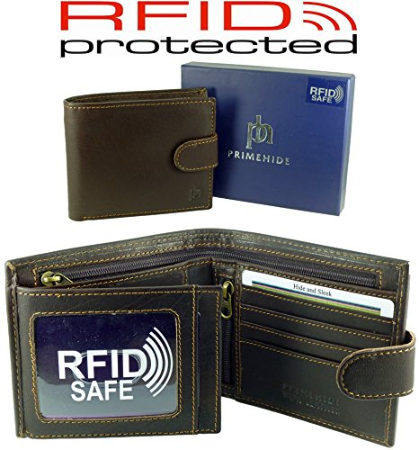 Brown Black RFID Gift amp; Notes For Coins Wallet Boxed Mens 10 Blocking Cards Card Leather Quality Bw6Z1Fq