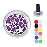 Star Car Air Freshener Aromatherapy Essential Oil Diffuser Vent Clip Stainless Steel Locket with 11 Felt Pads