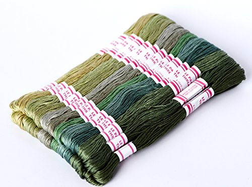 24 Colors Hand Embroidery Floss Cross Stitch Threads skeins Full range of Colors Friendship Bracelets Floss Crafts Floss-Made Of 100% Egyptian Long-staple (Dragonfly Needlepoint Kit)