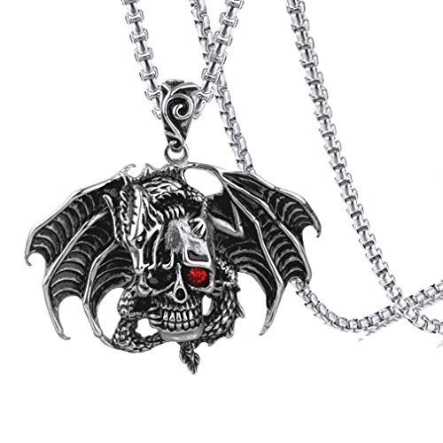 (Xusamss Hip Hop Titanium Steel Dragon Pendant Wings Skull Pendant Crystal Chain Necklaces )