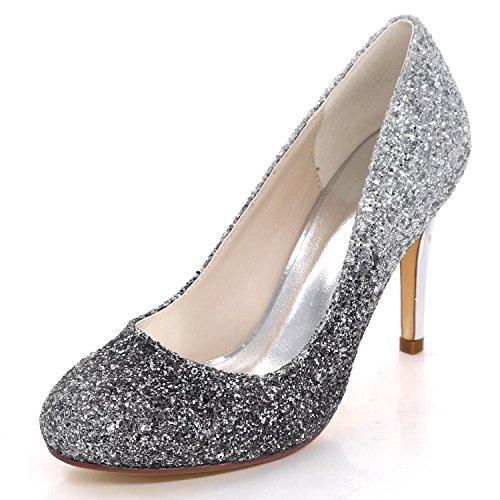 Elegant high shoes Zapatos de Boda de Las Mujeres 5623-44 Lentejuelas Cómodo Corte de Dama de Honor Zapatos de Gran Tamaño Verano Black