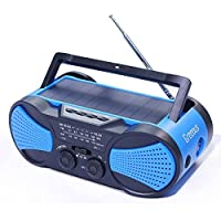 Hurricane Radio Weather Radio NOAA,FM/AM/SOS Emergency radios with Hand Crank Solar Earphone and Flashlight& Reading Lamp,4000mAh Charger for Cellphone,Survival kit,Blue,Greeous