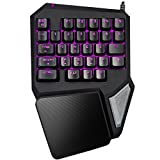 Delux T9 Pro USB Wired Colorful Ergonomic Gaming Keyboard 29 Keys Professional Single Hand Keypad 7 Colors LED Backlit Mini Portable Game Keyboard Small PC Laptop Keyboard