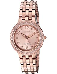 Citizen Womens Eco-Drive Quartz Stainless Steel Casual Watch, Color:Pink (Model: FE2083-58Q)