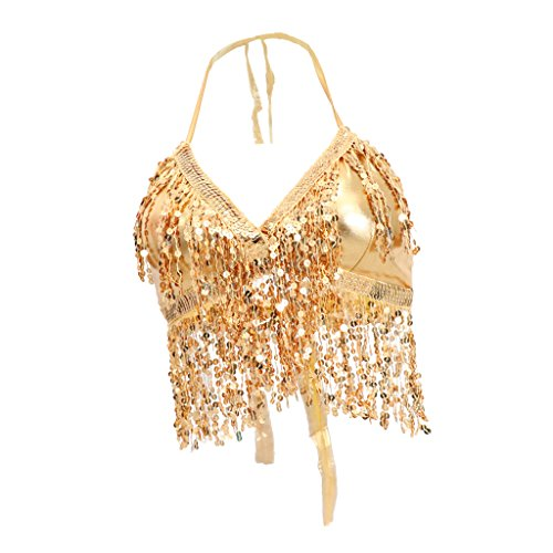 Fityle Sequin Women Halter Bra Top Salsa Belly Dance Boho Festival Performance Bra Tassel Top - Gold, as described ()