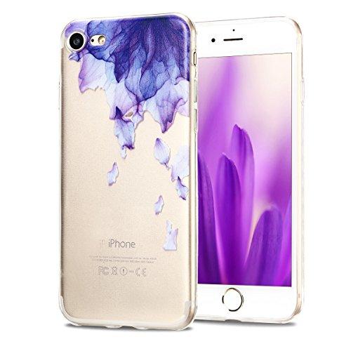 Funda iPhone 7, CaseLover Carcasa Transparente Suave Silicona TPU para iPhone 7 (4.7 Pulgadas) Ultra Delgado Flexible Gel Protectora Cubierta Resistente a los Arañazos Tapa Ligero Caja Anti-Rasguños E Flor Purpura