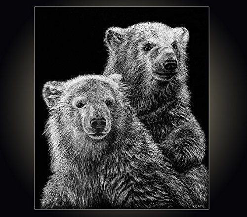Lithograph print Baby Bears A pen and ink on scratchboard drawing of two baby polar bears (Lithograph Hand Le Signed)