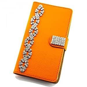Portatil Style Design–Funda con función atril Flip Cover Carcasa Funda Case Modern Bag para Samsung Galaxy A7SM-A700F en color naranja