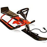 Deuba Sledge Steering Sleigh Snow Scooter Sled for Kids with Brakes Tobbogan Winter Toys 75 Kg max. Steel Frame Racing