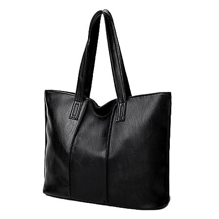 83d3584d705a Bangle009 Clearance Sale Women Fashion Faux Leather Large Capacity Zipper  Shoulder Bag Tote Handbag Pouch Black  Amazon.co.uk  Kitchen   Home