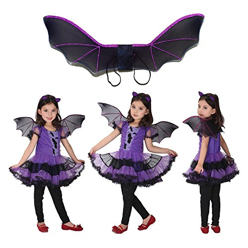 [Halloween Bat Wings Costume, Cosplay Posh Vampire Bat Costume Wings, Wing Prop Bat Wings, Kids Halloween Costume For Masquerade Parties, Costume and Halloween Parties, Trick or Treat] (Vampire Prop With Wings)