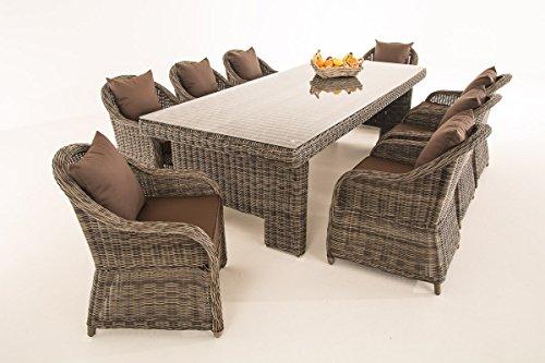 CLP Wicker / Poly Rattan Garden Dining Set CANDELA XL, 8 armchairs