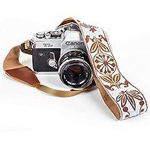 White Woven Vintage Camera Strap Belt For All DSLR Camera – Elegant Universal DSLR Strap, Floral Pattern Neck Shoulder Camera Strap for Canon, Nikon, Sony,Fujifilm and Digital Camera