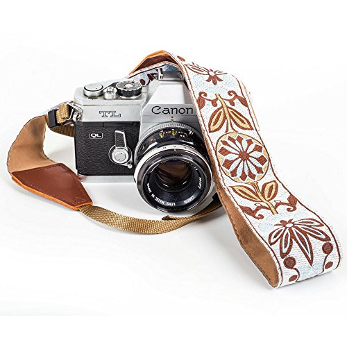 White Woven Vintage Camera Strap Belt For All DSLR Camera – Elegant Universal DSLR Strap, Floral Pattern Neck Shoulder Camera Belt for Canon, Nikon, Sony,Fujifilm, and Digital Camera