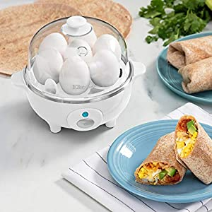 Elite Gourmet EGC-007 Easy Electric Poacher, Omelet Eggs & Soft, Medium, Hard-Boiled Egg Boiler Cooker with Auto Shut…