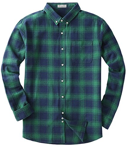 Shirt Down Plaid Green Button (MOCOTONO Men's Long Sleeve Flannel Plaid Dress Shirt Western Button Down Shirts Green Medium)