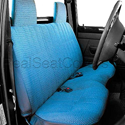 (RealSeatCovers for Front Bench A25 Triple Stitched Molded Headrests Seat Belt Cutout Small 2
