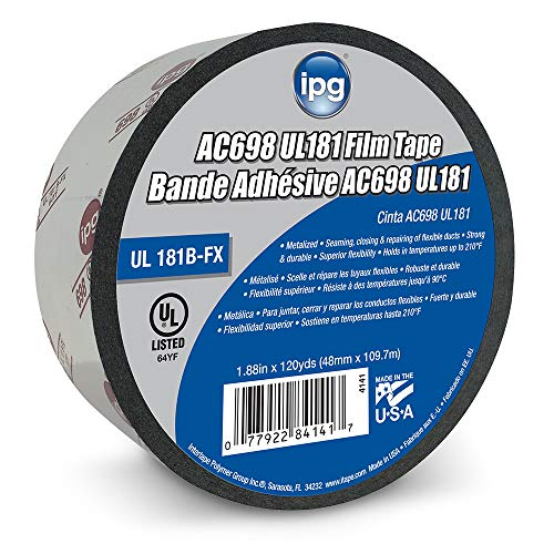 IPG AC698 UL181 Printed Film Metalized HVAC Tape, 1.88