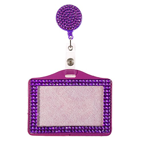 Purely Handmade Fashion Purple Bling Crystal Lanyard Cute Rhinestone Badge Reel + Horizontal Card Holder for Business Id Card (Reel Jeweled Badge)