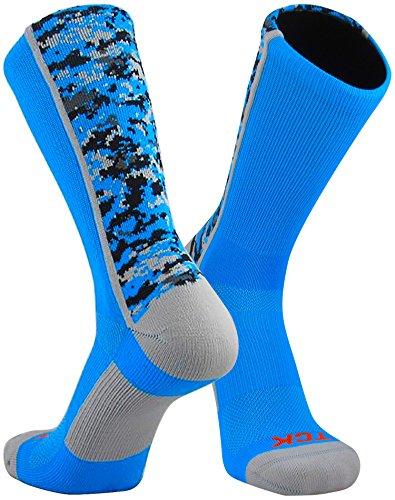 TCK Sports Digital Camo Crew Socks, Electric Blue, Medium (Electric Blue Clothing)