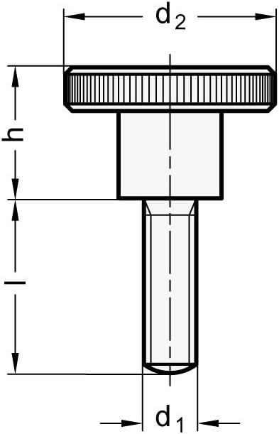 Ganter Normelemente DIN 464-M8-12 464-M8-12-Hohe R/ändelschrauben Gewindel/änge l 12mm 5 St/ück