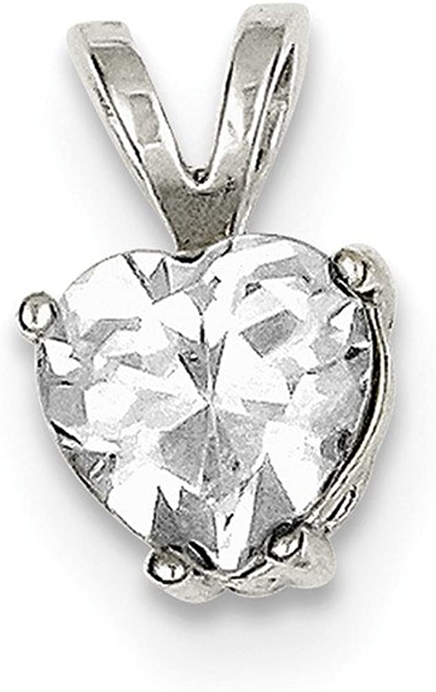 Snake or Ball Chain Necklace Sterling Silver Heart Synthetic CZ Pendant on a Sterling Silver Cable