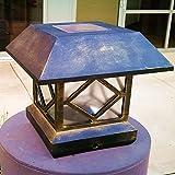 Sogrand 2pcs-Pack,Solar Post Lights, Fits 5 Post Sizes with Adaptors Rusty Copper Finish Vinyl Bright Sturdy and Big,Solar Lights Outdoor,Post Light,Solar Lamp Post