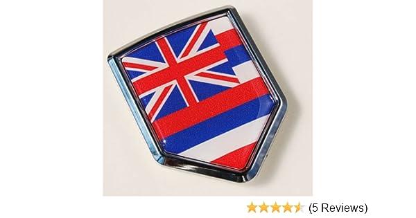 Hawaii Hawaiian Flag Emblem Screw On Car License Plate Decal Badge