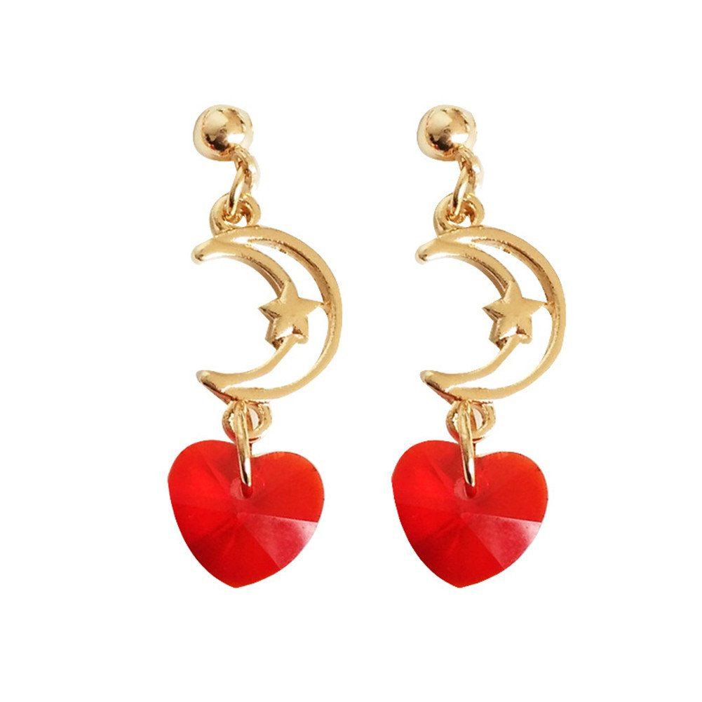 18K Gold Plated Two-tone Hollow Moon star charm with Red Crystal Heart Long Tassel Drop Earrings