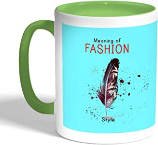 Meaning of Fashion Printed Coffee Mug, Green Color