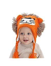 Beanie Hat Children Kids Baby Boys Cartoon Lion Winter Ski Ear Flap Peruvian Cap