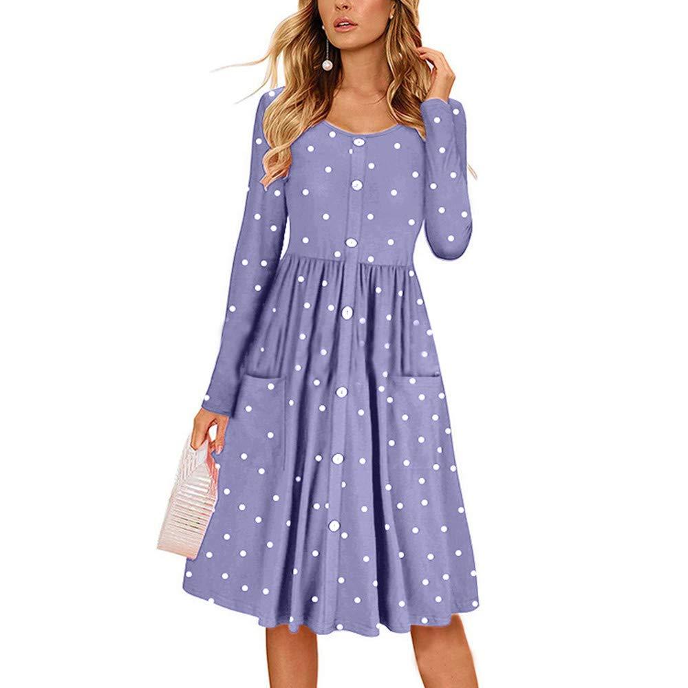 a714536ec6c Amazon.com  Ulanda Women Long Sleeve Button Pleated Polka Dot Swing Casual  Midi Dress with Pockets  Clothing
